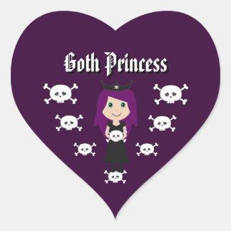 Cute Goth Princess Character & Skulls Heart Sticker