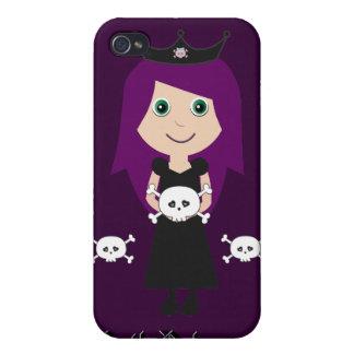 Cute Goth Princess Character & Skulls Purple iPhone 4/4S Cases