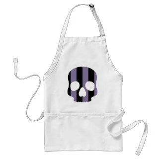 Cute goth striped skull adult apron