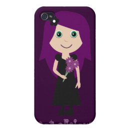 Cute Gothalicious Goth Girl Holding Flowers iPhone 4/4S Case