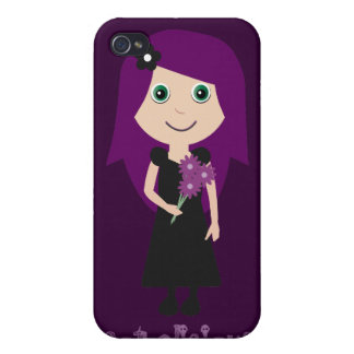 Cute Gothalicious Goth Girl Holding Flowers iPhone 4 Cover