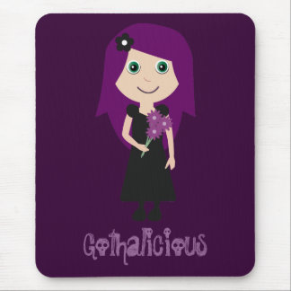 Cute Gothalicious Goth Girl Holding Flowers Mouse Pad
