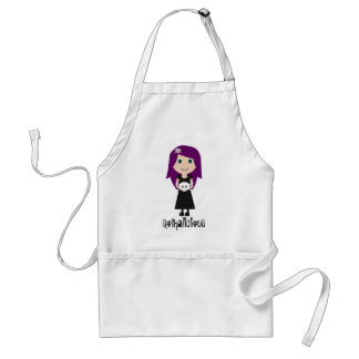 Cute Gothalicious Goth Girl With Skull Aprons