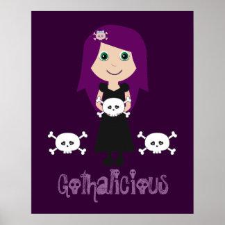 Cute Gothalicious Goth Girl With Skulls Print