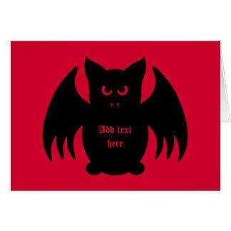 Cute gothic black vampire bat card