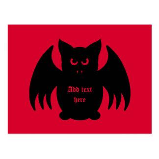 Cute gothic black vampire bat postcard