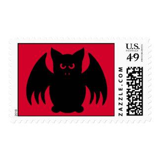 Cute gothic black vampire bat stamp