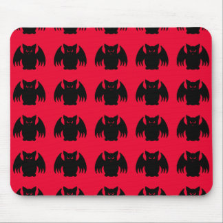 Cute gothic black vampire bats on red mouse pad