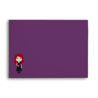 Cute Gothic Bridal Shower Purple Linen Envelope