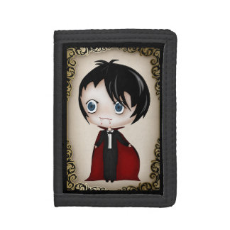 Cute Gothic Chibi Style Vampire Boy Trifold Wallet