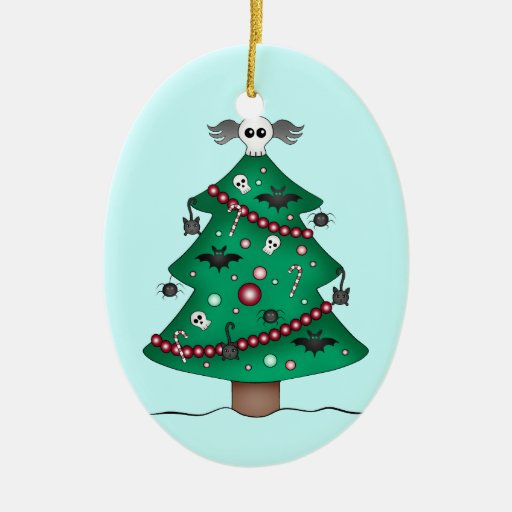 Cute gothic Christmas tree Double-Sided Oval Ceramic Christmas Ornament