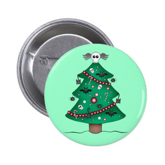 Cute gothic Christmas tree Pinback Button
