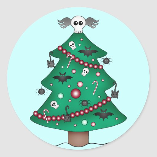 Cute gothic Christmas tree Stickers
