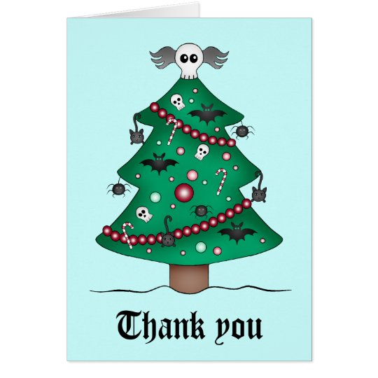 Cute gothic Christmas tree Thank You Card