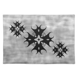 Cute gothic cross on gray placemat