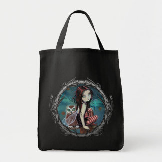Cute Gothic Fairy and Owl Fantasy Art Tote Bag