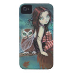Cute Gothic Fairy and Owl Fantasy Art iPhone Case iPhone 4 Case