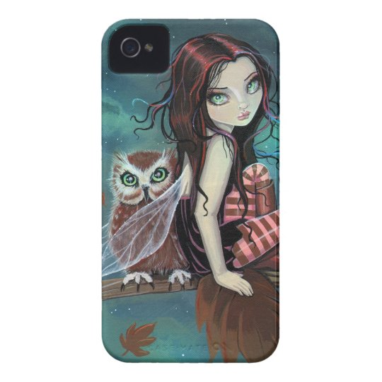 Cute Gothic Fairy and Owl Fantasy Art iPhone Case