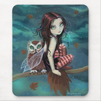 Cute Gothic Fairy and Owl Fantasy Art Mouse Pad
