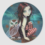 Cute Gothic Fairy and Owl Fantasy Art Stickers