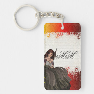 Cute Gothic fairy Single-Sided Rectangular Acrylic Keychain