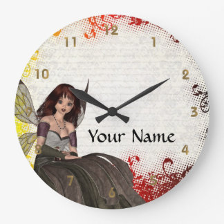 Cute Gothic fairy Large Clock