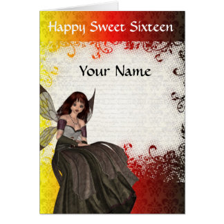Cute Gothic fairy sweet sixteen birthday Greeting Cards
