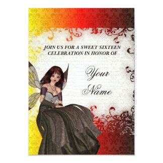 Cute Gothic fairy sweet sixteen 4.5x6.25 Paper Invitation Card