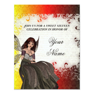Cute Gothic fairy sweet sixteen 4.25x5.5 Paper Invitation Card