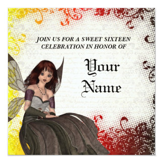 Cute Gothic fairy sweet sixteen 5.25x5.25 Square Paper Invitation Card