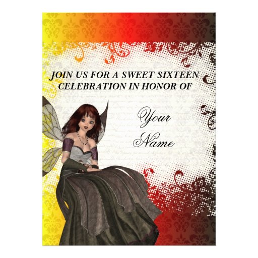 Cute Gothic fairy sweet sixteen Invitations