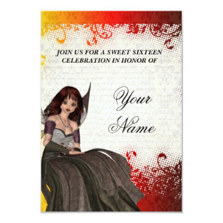 Cute Gothic fairy sweet sixteen 3.5x5 Paper Invitation Card