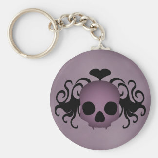 Cute gothic fantasy skull purple and black keychain