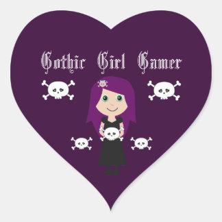 Cute Gothic Girl Gamer Character & Skulls Heart Sticker