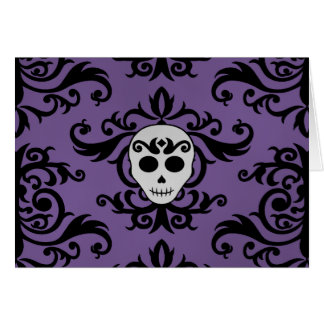 Cute gothic glam girly skull damask black purple card