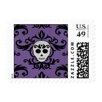 Cute gothic glam girly skull damask black purple postage stamp