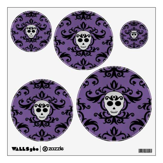 Cute gothic glam girly skull damask black purple wall sticker