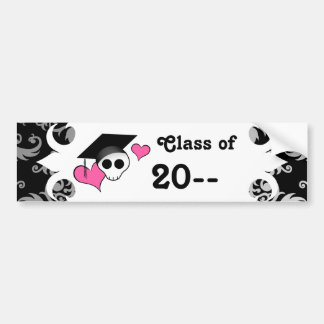 Cute gothic graduation skull bumper sticker