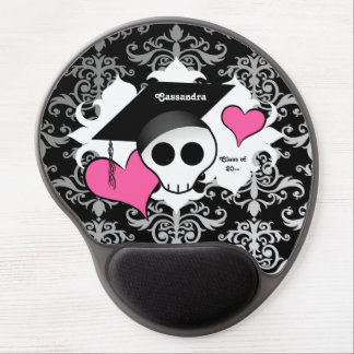Cute gothic graduation skull gel mouse pad