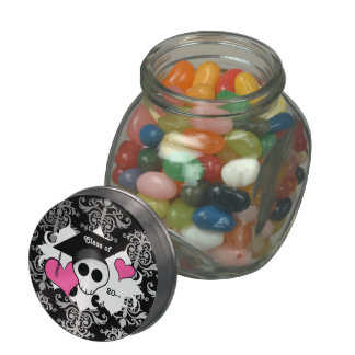 Cute gothic graduation skull glass jars
