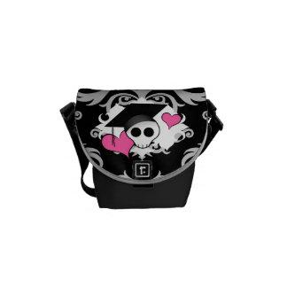 Cute gothic graduation skull messenger bag