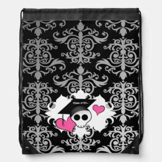 Cute gothic graduation skull drawstring bag