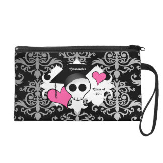 Cute gothic graduation skull to personalize wristlet clutches