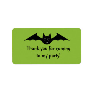 Cute gothic Halloween vampire bat with big eyes Label