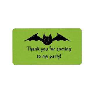 Cute gothic Halloween vampire bat with big eyes Label
