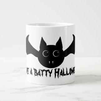 Cute gothic Halloween vampire bat with big eyes Large Coffee Mug