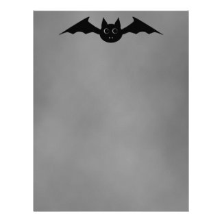 Cute gothic Halloween vampire bat with big eyes Letterhead
