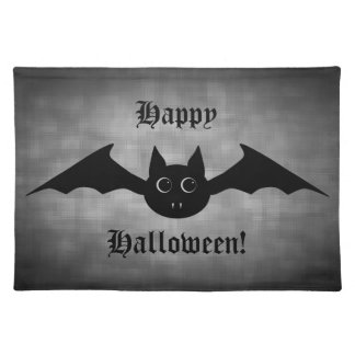 Cute gothic Halloween vampire bat with big eyes Placemat