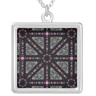 Cute gothic kaleidoscope gray, pink, black square pendant necklace