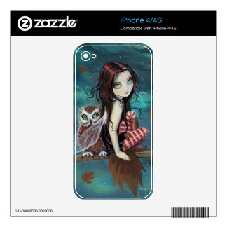 Cute Gothic Owl and Fairy iPhone Skin Decals For iPhone 4S